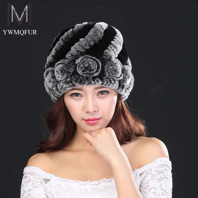 Winter hats for women new pineapple flower style rex rabbit real fur female caps hat with ears
