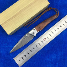 LEMIFSHE 0132 folding knife VG10 Damascus steel blade, sandalwood + stainless steel processing camping fruit knife EDC tools(China)