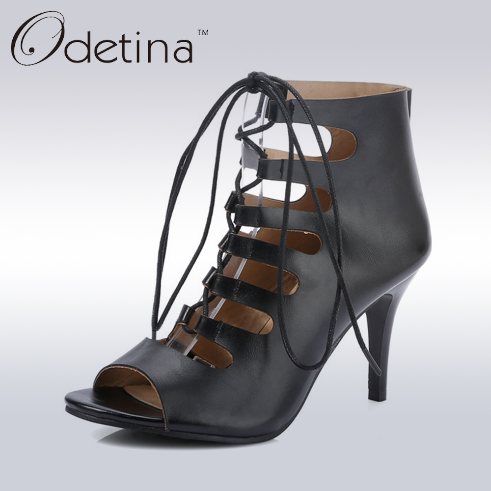 Odetina 2017 Summer Faux Leather Lace Up Open Toe Gladiator Heels Cross Tied Sandals Roman Women Stiletto Heel Big Size 32-43 summer women high heel sandals super high thin heels cross tied narrow band open toe lace up women cutouts shoes black white