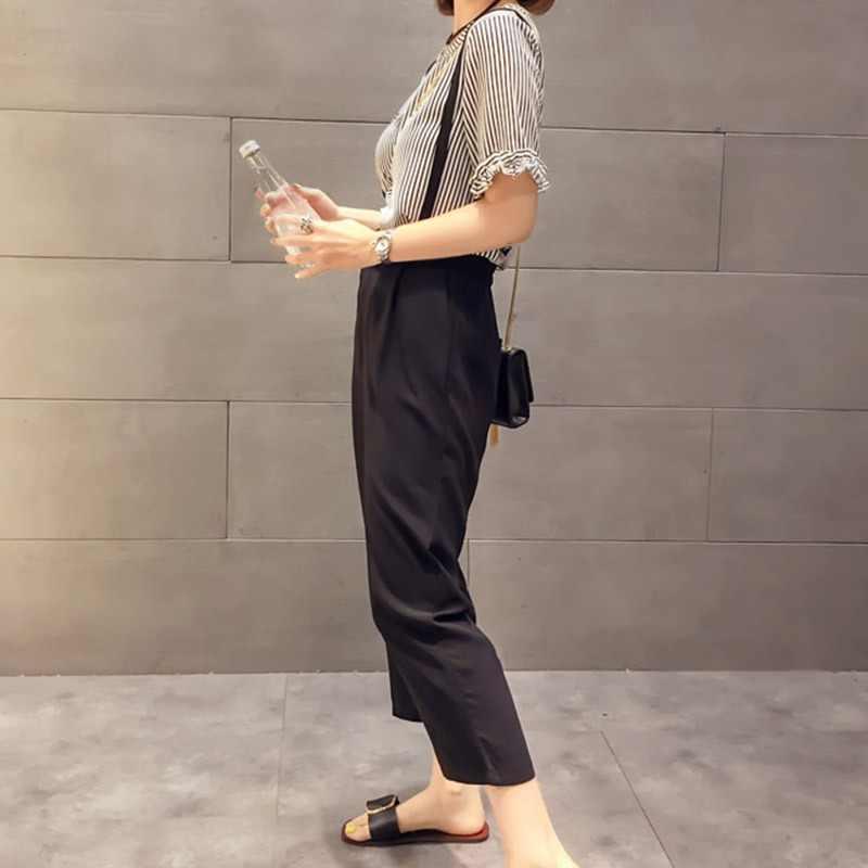 2 шт./компл. корейский стиль Повседневное комплект из брюк и футболки! Модное платье с О-образным вырезом полосатый топ и широкие штаны на подтяжках комплект