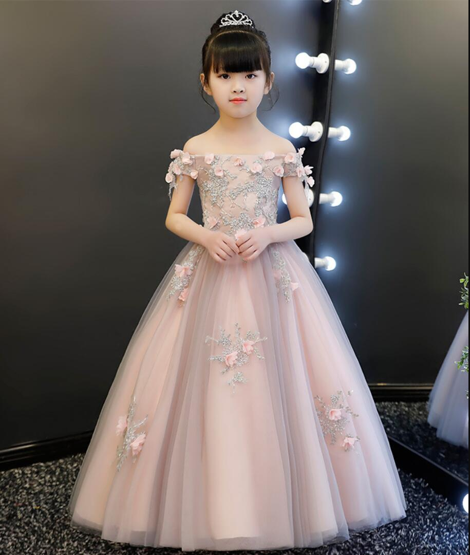 Glizt Appliques Lace Girl First Communion Dresses Floral Tulle Ball Gown Girls Pageant Gown Long Flower
