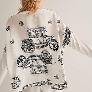 Image 2 - Bluz kadın üst artı boyutu basit tasarım 100% ipek yama Modal O boyun bırak omuz Modal kollu gevşek üst yeni moda