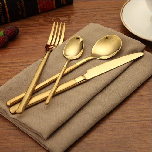Cutlery Set Modern Gold Plated Stainless Steel Dinner