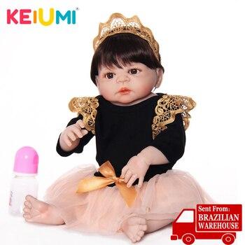 סיטונאי כמו בחיים 23 ''Reborn Boneca מלא סיליקון ויניל גוף 57 cm Reborn תינוקת בובת בחיים נסיכת לדמות ילדים חבר למשחק