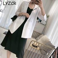 LYZCR Casual Black White Blazer Women Autumn Loose Oversized Ladies Office Suit Jackets Female Double Breasted Blazer For Women