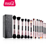 MSQ 14pcs Makeup Brushes Set Pro Rose Gold Make Up Brushes Double Head Cosmetic Tool Soft