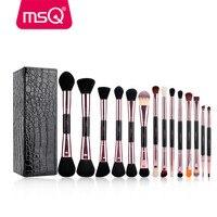 MSQ 14 stks Up Kwasten Set Pro Rose Gold Make Up Borstels dubbele Hoofd Cosmetische Tool Soft Synthetisch Haar Voor Schoonheid Magnetische Doos