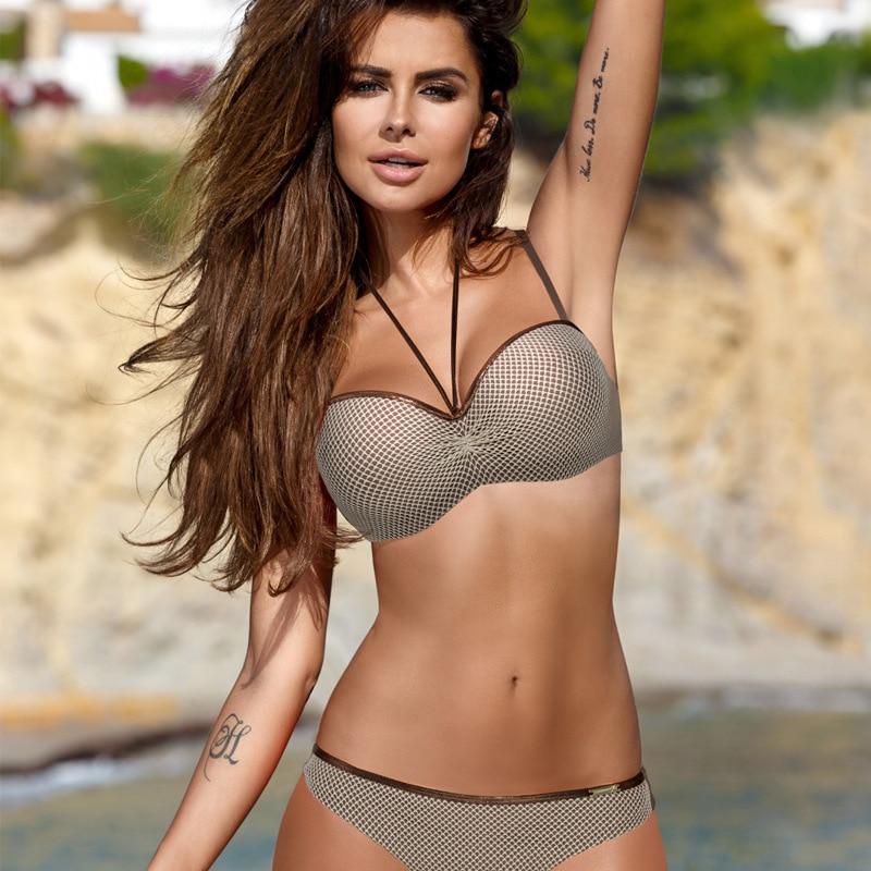 ae75b1791aefb Women Underwire Push Up Swimwear 2 Piece Swimsuit Monokini Brazilian Beach  Bathing