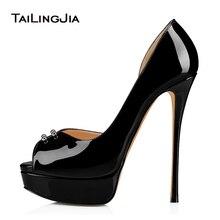 цены Woman Hot Peep toe Platform High Heel Sandals for Women Shiny Patent Black Heels Thin Heel Summer Shoes With Studs Free Shipping