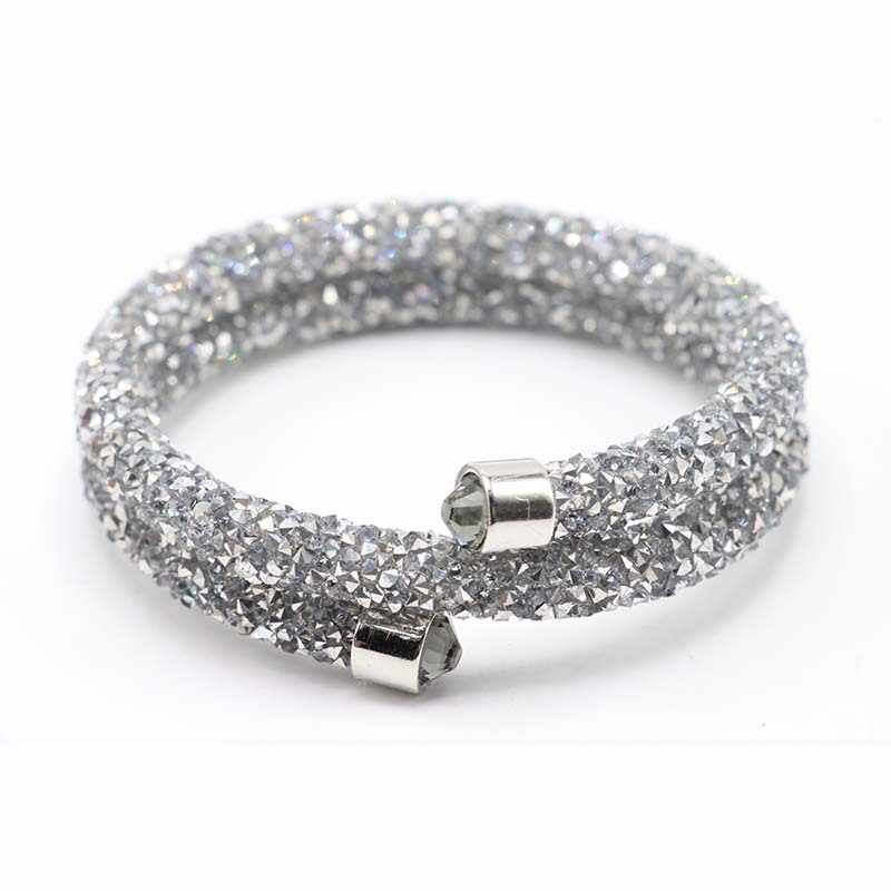 BOYULIGE New Design All Crystal Double Circle Charm Female love silver Bracelet Women Party Wedding Jewelry  Bracelets & Bangles