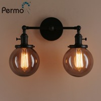 Permo 5.9'' Smoky Grey Globe Glass Double Heads Wall Light Vintage Glass Lampshade Wall Lamp Wall Sconce Bedroom Light Fixtures