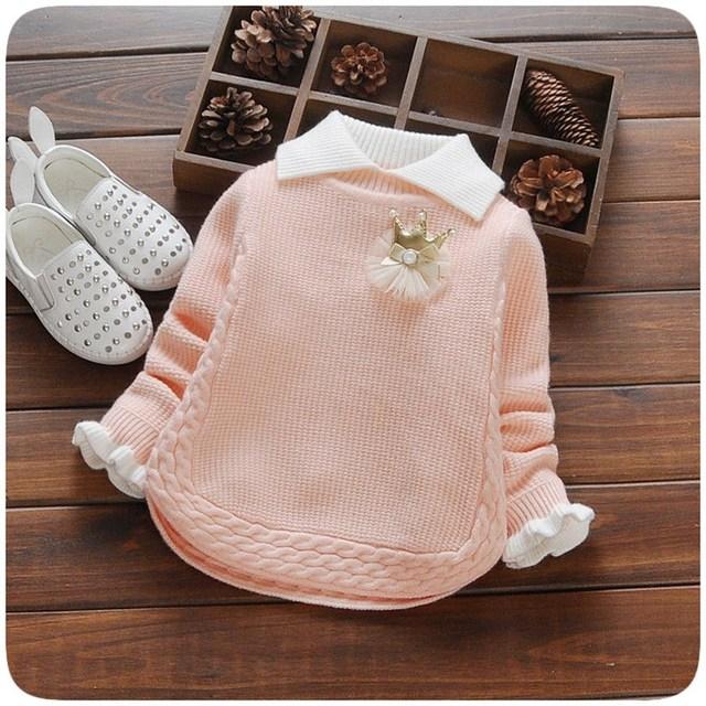2016 Otoño Que Hace Punto Del Bebé Niños Niñas Princesa de Apertura de cama Suéter de Cuello de Manga Larga Prendas de Punto Suéter de Las Tapas Outwear Camisola S3996