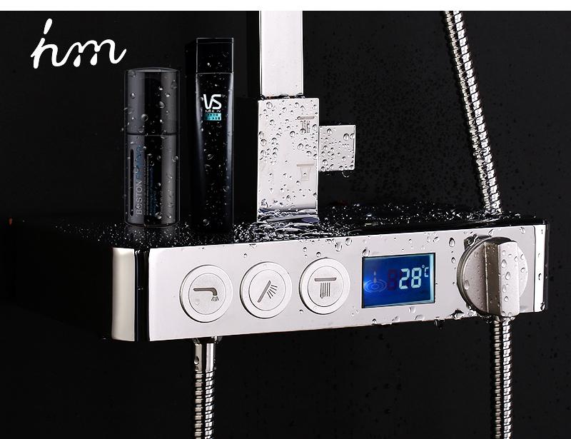 hm Installed Square shower Set Intelligent Digital Temperature Shower Brass Rain Faucet Smart Digital Display Wall Waterfall  (19)
