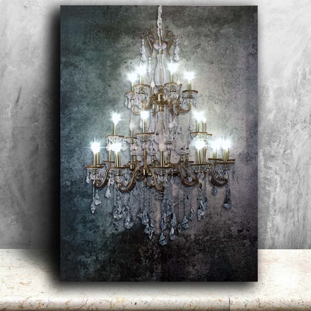 Led wall picture dividing vertical elements polychrome gold crystalline canvas art light up painting artwork printed framed