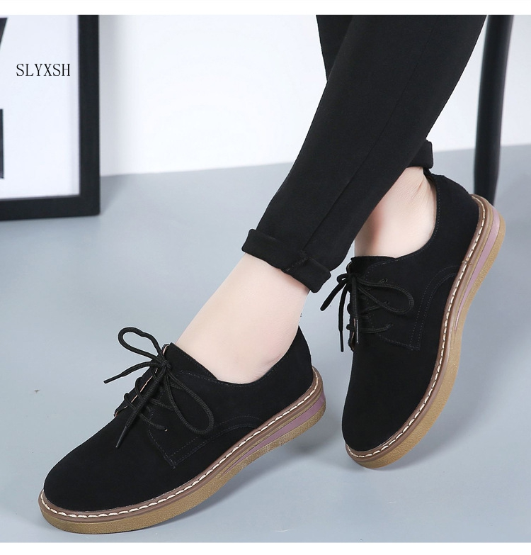 New Genuine Leather Women Flat Shoes Lace Up Autumn Sneakers Oxford Shoes Female Moccasins Casual Flat Retro Women Shoes