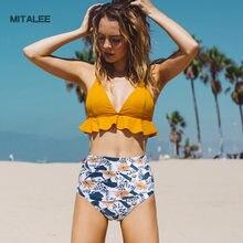 MITALEE Sexy Printed High Waist Women Swimwear Bikinis Push Up Bathing Suit Swim Summer Beach Wear Brazilian Bikini Set S