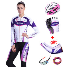 VEOBIKE Brand Team Pro Cycle Jerseys Cycling Long Sets Ciclismo Jersey Quick Dry Bicycle Clothes Women Bike Clothing Sport Wear цена
