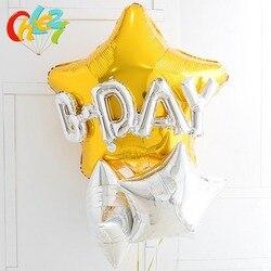5 pçs feliz aniversário decoração terno balão 32 polegada estrela de ouro balões de prata hélio balão crianças brinquedos chuveiro do bebê