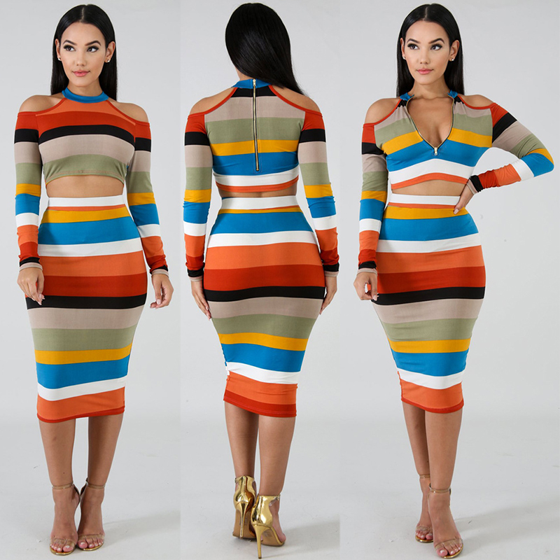 Knit Colorful Striped Women Crop Tops With Dresses Women New Fashion Dress Suits