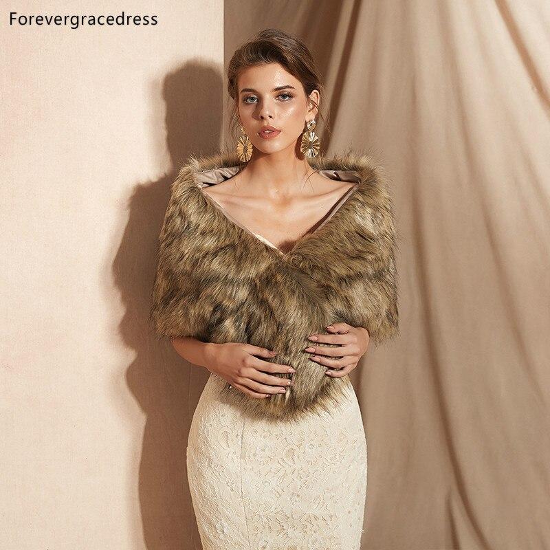 Forevergracedress 2019 Elegant Soft Autumn Winter Faux Fur Bride Wedding Wrap Bolero Jackets Bridal Coats Shawls Scarves PJ301