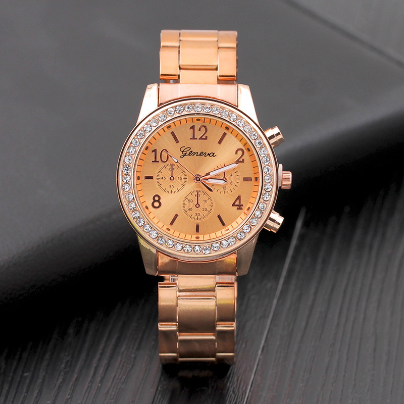 2019 Women Dress Watches Geneva Stainless Steel Watch Women Unisex Rhinestone Luxury Casual Men Quartz Watch Relojes Mujer