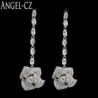 ANGELCZ Deslumbrante Inlay Crystal Clear Casamento Nupcial Jóias Acessórios Completo Longos Brincos Pendurados Com 925 Pinos de Orelha de Prata AE085