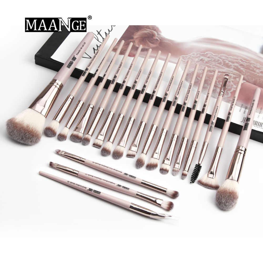 MAANGE Pro 12/20pcs แปรงแต่งหน้าชุดกระเป๋า Powder อายแชโดว์ Eyeliner Eyelash Lip ชุดแปรงแบบพกพาสำหรับ Make up