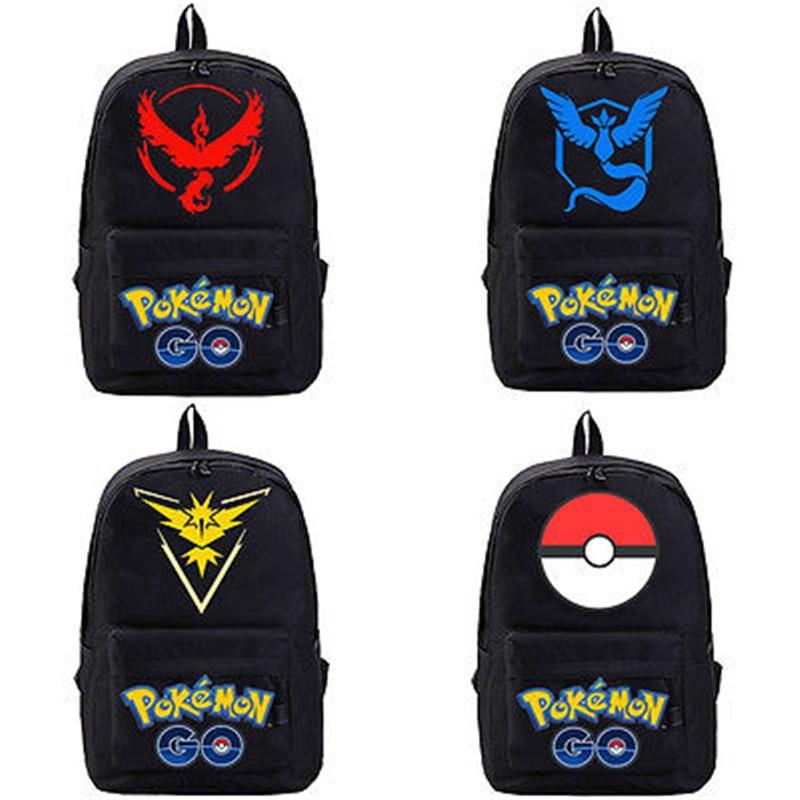 pokemon go canvas men women unisex black backpack shoulders bag laptop bag schoolbag red yellow blue ball