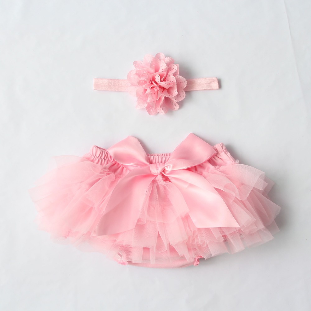 Ruffle Chiffon Baby Bloomers With Headband Set Diaper Covers Girl Shorts For Newborns Cotton Toddler Baby