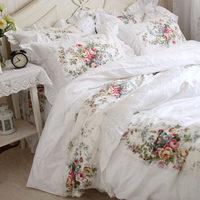 New pastorale ruffle lace bedding set elegant princess bedding matching duvet cover flower printed bedspread emboridery bedsheet