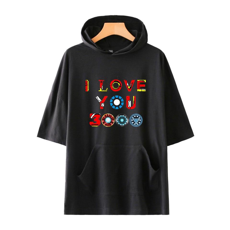 T     Shirts   Avengers Endgame Hip Hop Hooded Funny   T  -  shirts   Print I Love You 3000 Men Summer Short Sleeve Black Street Clothing