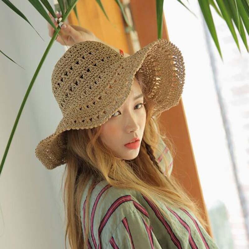 016b55a081b48 2016 new Hollow out sun hat summer hats for women chapeu feminino straw hat  bucket toca cap chapeau femme 1 pcs wholesale -in Sun Hats from Apparel ...
