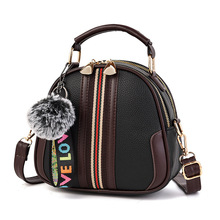 купить 2019 Women Shoulder Bags Crossbody Bag for Women Handbag PU Leather Full Moon Candy Color Cute Fur Ball Shoulder Shell Shape Bag по цене 322.4 рублей