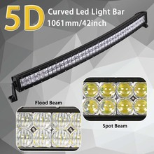 HELLO EOVO 5D 42 inch 400W Curved LED Light Bar for Work Indicators Driving Offroad Boat Car Tractor Truck 4×4 SUV ATV 12V 24V