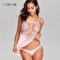 COLROVIE Crochet Lace Applique Slips Night Dress 2018 Summer Sleeveless Spaghetti Strap Plain Women Sleepwear New