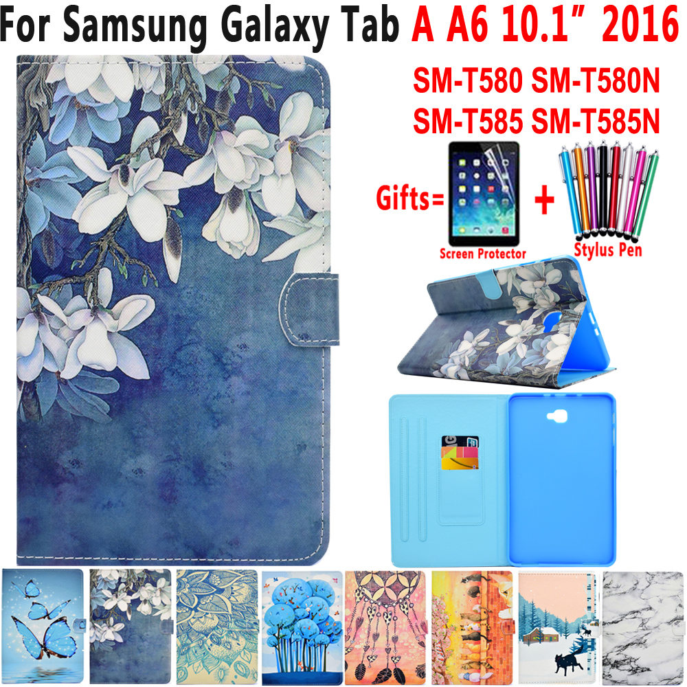 Fashion Case For Samsung Galaxy Tab A A6 10.1 2016 Case Smart Cover T580 T585 T580N SM-T585N Painted Leather Flip Coque Funda silk texture horizontal flip leather case for galaxy a6 2018 with holder