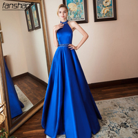 Royal Blue Prom Dresses 2019 Satin Beads Backless With Belt Sexy Prom Gown Plus Size Long Party Gown vestido fiesta
