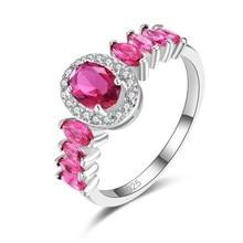 цена Gemstone Rings Sapphire ruby silver Wedding Engagement rings 925 Sterling Silver Finger Ring for Women Free shipping #6 7 8 9 в интернет-магазинах