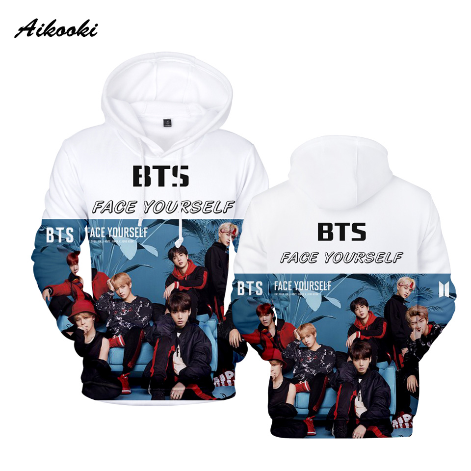 Fashion 2018 New BTS 3D Hoodies Man Sweatshirts Men Women Hoodie Casual Tracksuits Fashion Men Hoodies BTS Kpop Sweatshirts