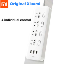 Original Xiaomi Mijia Power Strip 4 Sockets 4 Individual control Switches 5V/2.1A 3 USB port Extension Sockets Charger 2m cable