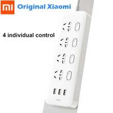 Orijinal Xiaomi Mijia güç şeridi 4 soket 4 bireysel kontrol anahtarları 5V/2.1A 3 USB bağlantı noktası uzatma prizleri şarj 2m kablo