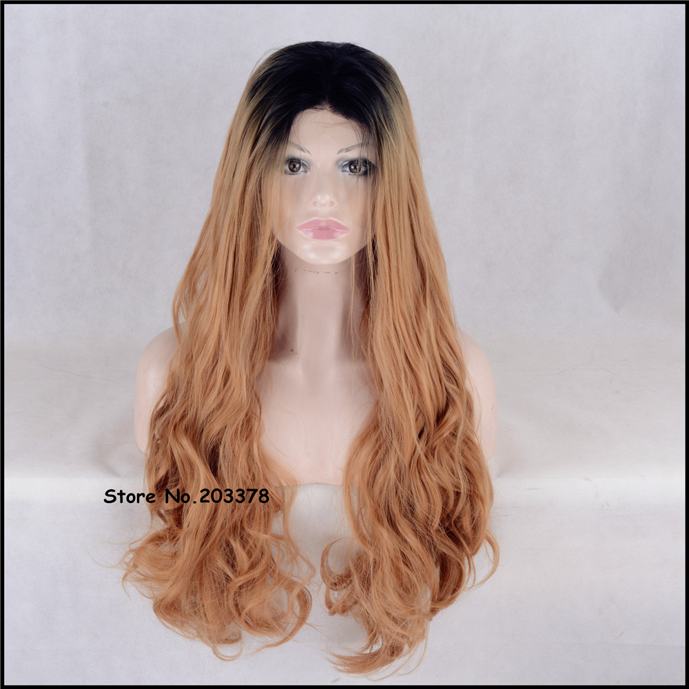 ФОТО Brazilian 24 inch Long Wavy Strawberry Blonde Brown Wigs Japan Kanekalon Synthetic Hair Quality Full Wigs For Black Women