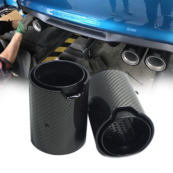 2PCS Full black Car Real Carbon Fiber Exhaust tip For BMW 1234 M Performance exhaust pipe upgrade F80 F82 F83 F10 F12