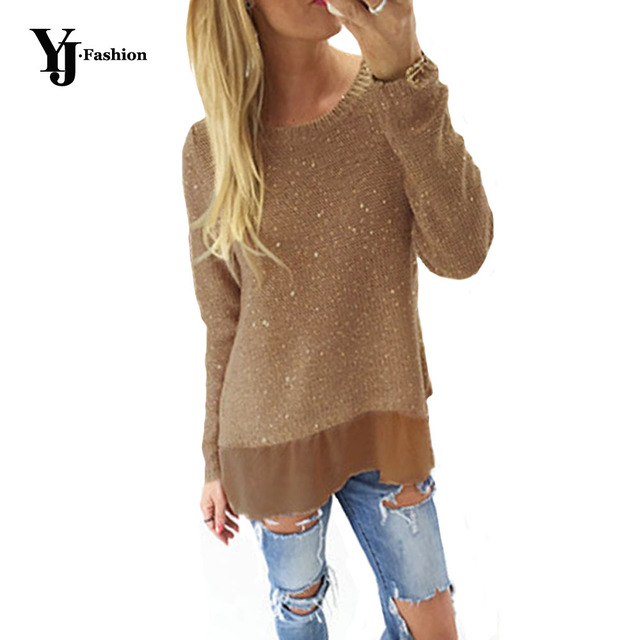 YJ Fashion Casual Loose Women Pullovers Sweaters Autumn Glittering Knitted Sweaters Long Sleeve Split Knitwear Black White Khaki