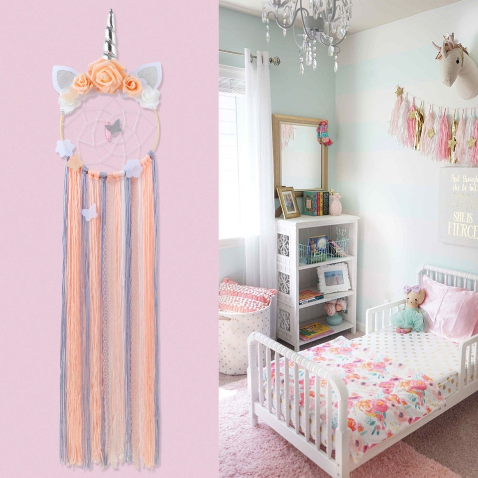 Ourwarm New Style Unicorn Dreamcatcher For Girl Bedroom Wall Hanging Decoration Dream Catcher Unicorn Bedroom Decor Wind Chimes Hanging Decorations Aliexpress