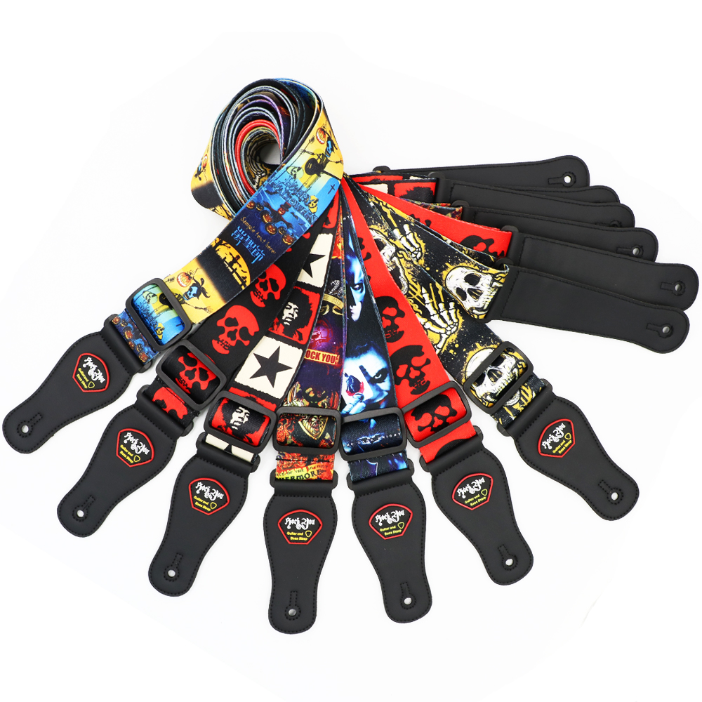 New Style Skull Rock You Colorful Pattern Guitar Strap Electric Guitar Acoustic Guitar Folk Guitar Bass Strap