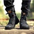 Новая Зимняя Мужская Обувь Повседневная Обувь Высокого верха Обуви Холст Мужчин Теплый зимние Мужские Ботинки 2016 Моды Зашнуровать Черные Мартин Сапоги 39-44