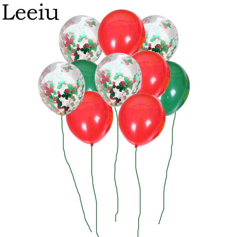 Leeiu Red Green Confetti Balloons Merry Christmas ...