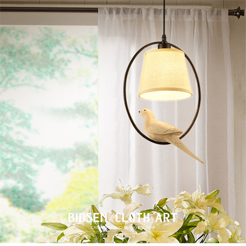 Nordic bird chandelier American country creative living room restaurant simple bedroom study balcony retro lighting WPL131 indoor lighting bird cage restaurant cafe bar desk study chandelier retro bird balcony chandelier
