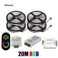 20 М 5050 RGB полосы света 60 Светодиодов/М SMD Гибкие Светодиодные Полосы + Беспроводной Сенсорный Пульт дистанционного управления + 24А Усилитель + 20 Питания WLED25